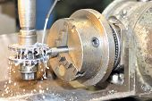 Turning lathe in action