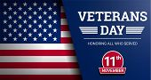Happy Veterans Day Concept Background. Realistic Illustration Of Happy Veterans Day Vector Concept B poster