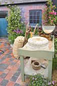 Old manual stone millstones