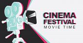 Cinema Festival Poster With Old Fashioned Movie Projector. Vintage Movie Camera With Light. Vector B poster