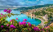 French Riviera Coast With Medieval Town Villefranche Sur Mer, Nice Region, France poster