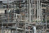 Pipes of a chemical processing plant poster