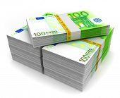 Euro money on white