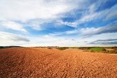 arable land in spring time and blue sky