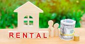 Wooden House, Money With The Inscription Rental. Rental Of Property, Apartments. Services Of A Realt poster