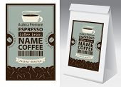 Paper Packaging With Label For Freshly Roasted Coffee Beans In Retro Style. Vector Label For Coffee  poster