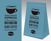 Paper Packaging With Label For Freshly Roasted Coffee Beans. Vector Label For Coffee With Cup, Bar C poster