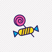 Illustration Of Candy Icon Colored Line. Beautiful Hobby Element Also Can Be Used As Confection Icon poster