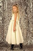 Fashion Model On Silver Background, Beauty. Little Girl In Fashionable Dress, Prom. Fashion And Beau poster