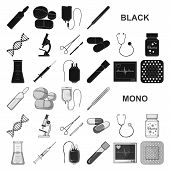 Medicine And Treatment Black Icons In Set Collection For Design. Medicine And Equipment Vector Symbo poster
