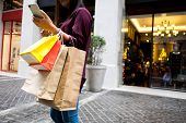 Woman Holding Shopping Bag And Using Smartphone For Shopping Online, Shopping Concept. poster