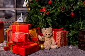 Gifts Under The Christmas Tree, Toy Bear And Boxes, The Concept Of A Cozy Home New Year.bear Waiting poster