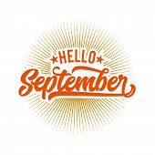 Hello September Typography, Lettering September Icon, September Typography poster