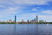 foto of prudential center  - Boston Charles River with urban city skyline skyscrapers and boats with blue skyr - JPG