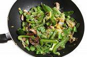 Vegetarian Chinese Stir-Fry Food In Wok