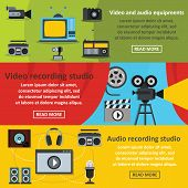 Video Audio Tool Banner Horizontal Concept Set. Flat Illustration Of 3 Video Audio Tool Banner Horiz poster