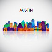 Austin Skyline Silhouette In Colorful Geometric Style. Symbol For Your Design. Vector Illustration. poster