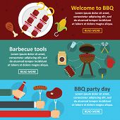 Barbecue Party Banner Horizontal Concept Set. Flat Illustration Of 3 Barbecue Party Banner Horizonta poster