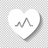 Cardiac Pulse. Heart And Pulse Line. Simple Single Icon. White I poster