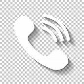 Ringing Phone Icon. Retro Symbol. White Icon With Shadow On Tran poster