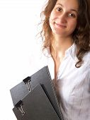 Woman Holding Two Folders