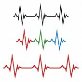 A Set Of The Cardiograms Of The Heart. The Concept Of A Healthy Heart. Vector Illustration Of Heart  poster