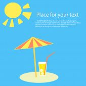 Summertime. Parasol, The Beach Is A Glass Of Lemonade Cocktail, Juice, Soda With Straw. A Beach Umbr poster