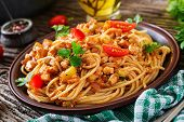 Spaghetti Bolognese Pasta With Tomato Sauce, Vegetables And Minced Meat - Homemade Healthy Italian P poster