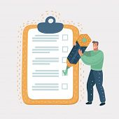 Checklist Clipboard. Smiling Man Or Businessman Holding A Pencil In His Hand And Doing Mark. Questio poster