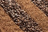 Coffee Beans. Coffee Granules As Background Or Texture. Coffee Beans And Coffee Granules. Natural An poster