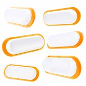 Six Glossy Orange Banner Copyspace Template Buttons
