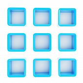 stock photo of foreshortening  - Copyspace cube square blue plastic shelf boxes in nine foreshortenings isolated on white - JPG