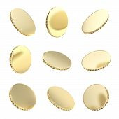 Glossy Golden Coins In Nine Foreshortening Isolated