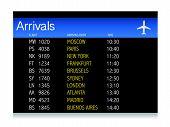 Diseño de ilustración de horario Aeropuerto llegada sobre fondo blanco
