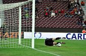 Goalkeeper defends a penalty