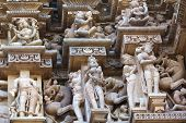 fragment of the famous erotic temple in Khajuraho, India