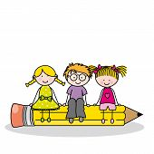 picture of childrens literature  - children sitting on a pencil - JPG