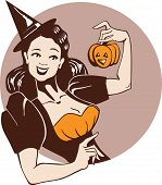 Laughing Pretty Girl In Witch Costume  With Pumpkin In Pin Up Style