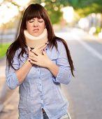 Woman Wearing Neckbrace, Outdoor