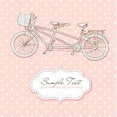 stock photo of tandem bicycle  - Tandem Bicycle Wedding Invitation with polka dot background - JPG