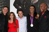 Los Angeles - AUG 15:  Ryan Lochte, Chris Harrison, Danielle Scott Aruda, Tiny Lister arrives at the