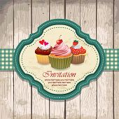 illustration of vintage retro frame with cupcakes