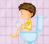 illustration of a boy sitting on western commode in toilet