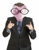 Businessman with a piggy bank head