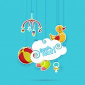 illustration of baby's object hanging with cloud space