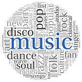 Music styles concept in word tag cloud on white