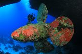 Scuba Diving on a shipwreck - on the propeller of the Salem Express, Red Sea
