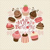 Greeting birthday card with cute little cakes