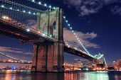 Brooklyn Bridge closeup over East River at night in New York City Manhattan with lights and reflecti