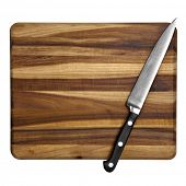 Stainless Steel kitchen utility knife on a wooden chopping board.  Isolated on white.  Overhead view